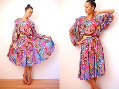 Vtg 70's Diane Freis Floral Psychedelic Pleated Dress  http://www.etsy.com/shop/LuluTresors
