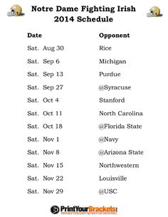 Printable Notre Dame Fighting Irish Football Schedule 2014