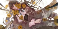 Anime Original Long Hair Brown Hair Flower Red Eyes Wallpaper Eyes Wallpaper, More Wallpaper, Original Wallpaper, Wallpaper Backgrounds, Flowers In Hair, Pink Flowers, Red Eyes, Image Boards, Background Images