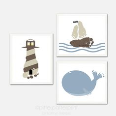 Baby Footprint Nautical Nursery Art Print Set - Sailboat, Lighthouse, Whale - Baby Boy Nursery - Boys Rooms Decor - Nautical Nursery Decor on Etsy, $45.00