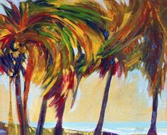 """""""Tropical Day"""" - Original Fine Art for Sale - © Bente Hansen High Quality Wallpapers, High Quality Images, Colorful Trees, South Pacific, Art For Sale, Palm Trees, Abstract Art, Beach Paintings, Tropical"""