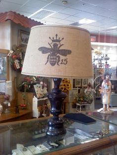 bee burlap shade(as seen in Country Living)