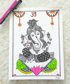 Easy Mandala Drawing, Mandala Art Lesson, Mandala Doodle, Doodle Art Drawing, Cool Art Drawings, Art Drawings Sketches, Ganpati Drawing, Ganesha Drawing, Ganesha Tattoo