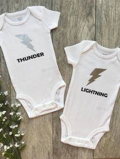 Thunder and lightning twins twin outfits twin onesies baby gift newborn out&; Great Baby Clothes Thunder and lightning twins twin outfits twin onesies baby gift newborn out&; Twin Baby Clothes, Twin Baby Boys, Trendy Baby Clothes, Twin Babies, Baby Twins, Baby Baby, Ivf Twins, Children Clothes, Toddler Girls