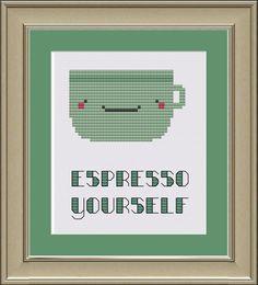 Espresso yourself cute coffee crossstitch by nerdylittlestitcher, $3.00