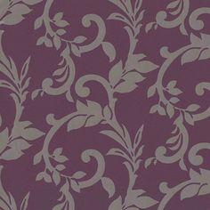 Papel pintado color berenjena para el cabecero de la cama