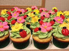 Lady-bug theme baby shower cupcakes. MMF Lady-bugs and Royal Icing flowers
