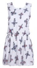 White Sleeveless Cross Print Chiffon Tank Dress $25.48 #SheInside