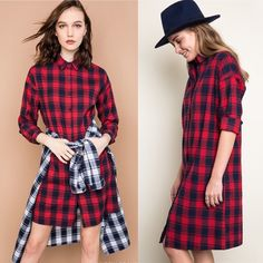 LAST DAY Of SALEPlaid Flannel Shirt Dress 4th of July SALE **Valid through 07/04/2016 11:59pm EST**  ✨HOST PICK✨Soft, woven plaid fabric. Perfect for both layering and wearing by itself! Super chic! • Bundle & Save 10%! Wild Dreams Dresses Midi