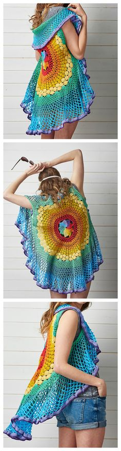 Crochet Pretty Circle Jacket with Pattern Collections---Crochet Circular Vest Pattern
