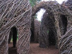 Artist Patrick Dougherty, along with a team of volunteers, crafted an on-site woven-wood sculpture.