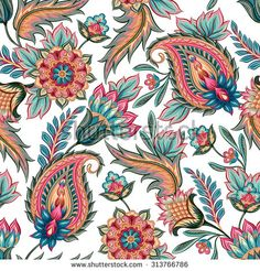 Traditional oriental seamless paisley pattern. Vintage flowers background…