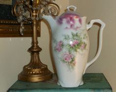 Lovely Antique Victorian Chocolate Pot with Pink Roses- Germany