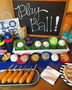 Trendy baby shower themes for boys baseball first birthdays Ideas Baseball First Birthday, Sports Themed Birthday Party, 1st Boy Birthday, 4th Birthday Parties, Kids Baseball Party, Birthday Ideas, Baseball Party Themes, Baseball Snacks, Softball Party
