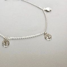 Tree Of Life Silver Anklet Sterling Silver Anklet Minimalist Sterling Silver Anklet, Silver Anklets, Ethical Fashion, Artisan, Minimalist, Pendant Necklace, Diamond, Handmade, Life