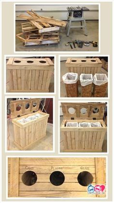 20 Pallet Projects You Ought To Try This Summer. The container shown is a great idea for garbage, recycli 20 Pallet Projects You Ought To Try This Summer. The container shown is a great idea for garbage, recycling and composting. Diy Craft Projects, Pallet Crafts, Diy Pallet Projects, Wood Projects, Project Ideas, Diy Crafts, Recycling Projects, Old Pallets, Recycled Pallets