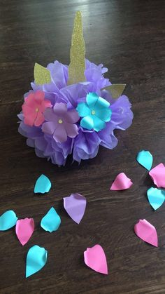 DIY 4 SET UNICORN Tissue Paper Pom Pom/ Decoration/ Center
