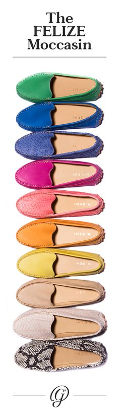 Love loafers - especially in tons of colors! In a tiny, woman-owned factory, they handcraft their moccasins, stitch-by-stitch. Cute Shoes, Me Too Shoes, Fashion Shoes, Fashion Accessories, Zapatos Shoes, Looks Chic, Shoe Closet, Shoe Shoe, Crazy Shoes