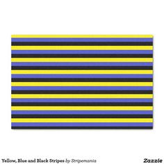 "Yellow, Blue and Black Stripes 10"" X 15"" Tissue Paper"