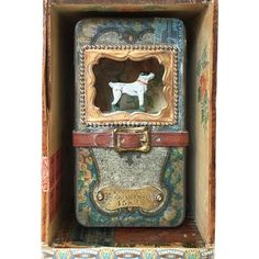 """My first dog-themed assemblage was pretty popular while on display at a recent trunk show but had been sold just prior to the event. This is my latest work, a piece commissioned by one lovely attendee of the show- """"Compagnon Bien-Aimé"""" (Beloved Companion). #assemblage #assemblageart #assemblagebox #mixedmediaassemblage #CHassemblage"""