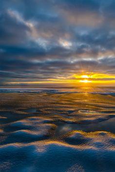 Warm winter sunset in Varbla beach