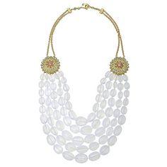 "Paul Morelli ""Appliqué"" Moon Quartz 5 Strand Bead Necklace with Gemstone"