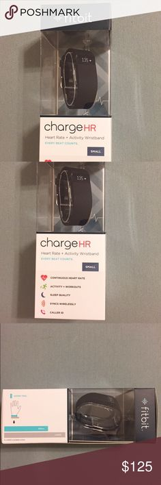 FitBit Charge HR BRAND NEW still in box Size small but is adjustable  Black band Comes with charger  Retail $140 FitBit Accessories