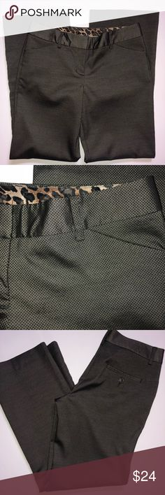 Express Editor Fit Slacks NWOT Dark brown with small diamond pattern slacks,  they almost have like shinny metallic look to them ,  very chic.  New with out tags. Express Pants Straight Leg