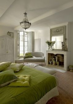 So French Country + love the color contrasted w/ the creamy whites