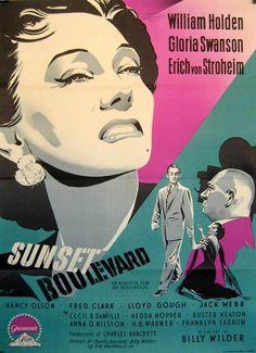 Sunset Boulevard (1950) starring William Holden, Gloria Swanson & Erich von Stroheim — Norwegian Film Poster