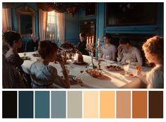 Pride and Prejudice Color Palette Movie Color Palette, Colour Pallette, Color Palate, Cinema Colours, Color In Film, Pride And Prejudice And Zombies, Color Script, Movie Shots, Film Inspiration