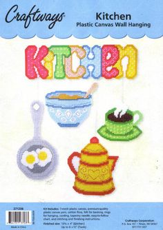Kitchen Wall Hanging-Plastic Canvas Kit: hope it will work with beads Plastic Canvas Crafts, Plastic Canvas Patterns, Wall Prints, Canvas Prints, Canvas Signs, Diy Canvas, Cool Walls, Beading Patterns, Cross Stitch Embroidery