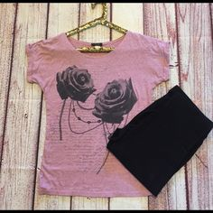 """Sweet Rose Sweet Rose T-Shirt. No stains or tears. Very soft material. Roses are black in color with chains on it and writing in the background. Fits  S/M. 21"""" bust . Length 24.5"""" BUNDLE AND SAVE 10% Tops Tees - Short Sleeve"""
