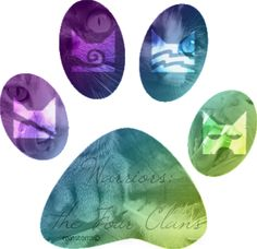 Warriors by Erin Hunter| WARRIORS; THE FOUR CLANS| in order from left to right. ThunderClan, WindClan, RiverClan & ShadowClan.