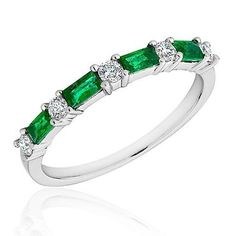 Emerald and Diamond Band 1/5ctw | Shop REEDS Jewelers~~~ One of my wedding bands, ordered last week!