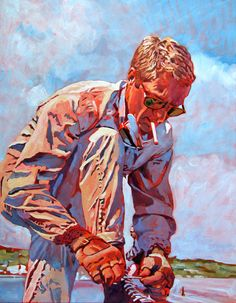 Painting of Steve McQueen by David Lloyd Glover