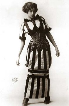 The hobble skirt with narrow hem and the fur hat was the symbol of fashion in 1910s. Made by Paul Poiret.