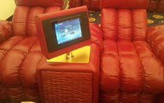 iRoom's iDock black aluminum installation, in a Russian home cinema.