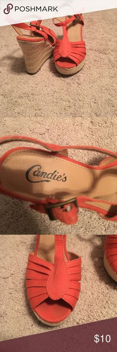 Orange wedge heels Lightly used summer wedges. Can make them causal or dress them up! Candie's Shoes Wedges