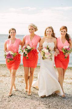 bridesmaids in color blocked dresses, photo by Rebecca Arthurs http://ruffledblog.com/rhode-island-beach-wedding #bridesmaid #bridesmaidsdresses