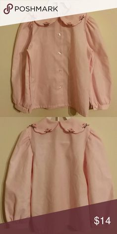 Hartstrings Pink Blouse. EUC Long sleeves with embroidered Peter pan collar Shirts & Tops Blouses