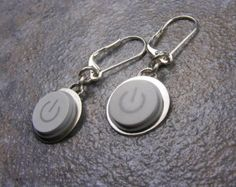 Power Up Earrings, Sterling Silver, computer keyboard, Handmade, Recycled, Mac, Apple, Power Buttons, wedding, anniversary, birthday, gift