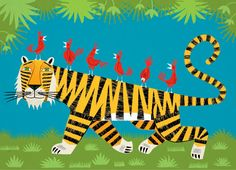 iOTA iLLUSTRATION - Tiger Transportation - Limited Edition - kids Animal Art Print by Oliver Lake