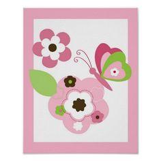 Butterfly Flower Girls Nursery Wall Art Print