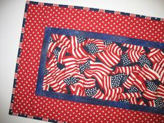 Patriotic Table Runner with Stars and Stripes by PicketFenceFabric, $28.00