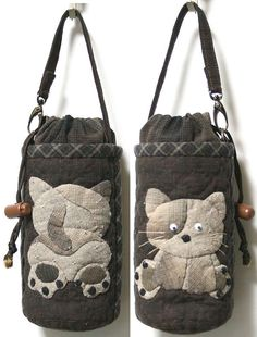 How cute as a pijama holder this would be :) Japanese Patchwork, Japanese Bag, Japanese Quilts, Patchwork Bags, Quilted Bag, Diy Pouch No Zipper, Cat Bag, Diy Handbag, Fabric Bags