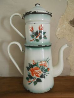 "Vintage French Enamelware Enamel Coffee Pot / Biggin + Filter + Lid ""ROSES"""