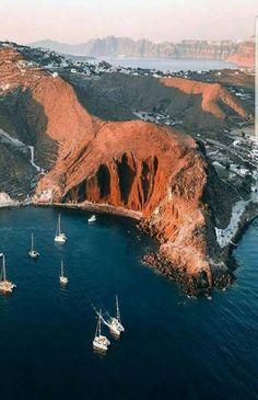 Above Santorini Island