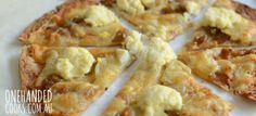 Caramelised Onion, Potato and Three Cheese Pizza - One Handed Cooks Lunch Recipes, Baby Food Recipes, Appetizer Recipes, Cooking Recipes, What's Cooking, Cooking Ideas, Yummy Recipes, Appetizers, Healthy Recipes