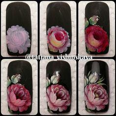 Rose Nail Art, Rose Nails, Flower Nail Art, 3d Nail Art, Hello Nails, Jasmine Nails, Water Color Nails, One Stroke Nails, Nailart
